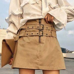 🆕Zara Brown Double Belted Zipper Mini Skirt